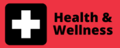 image a medical plus icon with the word health & wellness to designate a button to click on