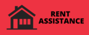image of a house with the words housing/rent assistance to designate a button to click on